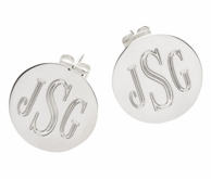 Monogrammed Silver Plated Round Post Earrings