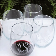 Monogrammed Stemless Wine Glasses - Large 21oz - SET OF 4