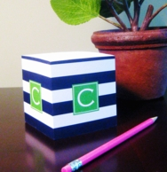 Monogrammed Sticky Note Cubes