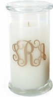 Monogrammed Tall Glass Lidded Candle