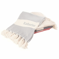 Monogrammed Turkish Throw Blanket