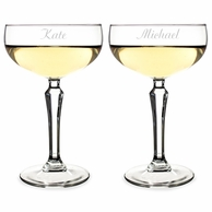 Monogrammed Vintage Style Coupe Champagne Glasses - SET OF 2