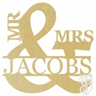 Mr & Mrs Ampersand With Name Wood Wall Monogram