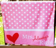 Mrs Always Right Pink Beach Towel