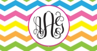 Multi Chevron Monogram Car Tag License Plate