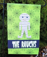 Mummy Green Personalized Halloween Garden Flag