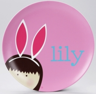 My Bunny Ears Pink Personalized Kids Plate