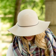 Natural Wool Monogrammed Floppy Hat