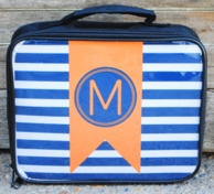 Nautical Navy Stripe Flag Personalized Lunch Box