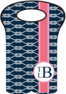 Nautical Ropes Monogrammed Double Wine Bottle Tote