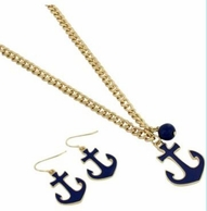 Navy Anchor Necklace & Earrings Set