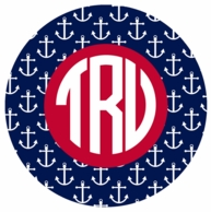 Navy Anchors Monogrammed Coasters - SET OF 4