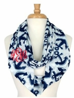 Navy Anchors Monogrammed Infinity Scarf