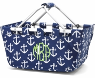 Navy Anchors Monogrammed LARGE Market Basket Tote