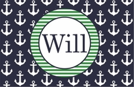 Navy Anchors Personalized Placemat