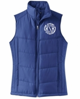Navy Blue Monogrammed Quilted Puffer Vest