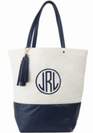 Navy Canvas Monogrammed Tassel Carry All Tote