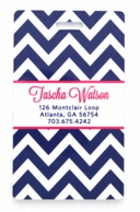Navy Chevron Personalized Luggage Tags - SET OF 2