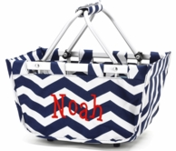 Navy Chevron Personalized Mini Market Basket Tote