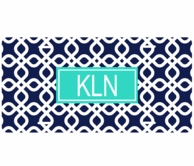 Navy Diamonds Monogrammed Car Tag License Plate