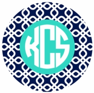 Navy Diamonds Monogrammed Coasters