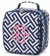 Navy Greek Key Monogram Lunch Bag