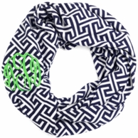 Navy Greek Key Monogrammed Infinity Scarf