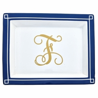 Navy Large Monogrammed Blair Rectangle Jewelry Tray