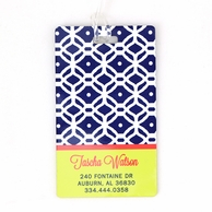 Navy Lattice Personalized Luggage Tags - SET OF 2