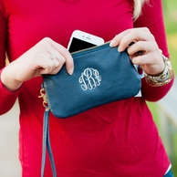 Navy Leather Monogrammed Wristet Clutch