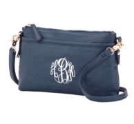 Navy Monogrammed Bree Crossbody Purse