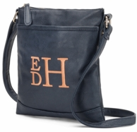 Navy Monogrammed Cross Body Purse Handbag