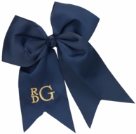 Navy Monogrammed Hair Bow