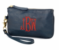 Navy Monogrammed Mini Wristlet Clutch