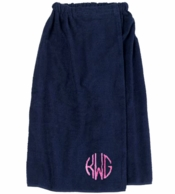 Navy Monogrammed Spa Towel Wrap