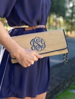 Navy Monogrammed Straw Clutch Handbag
