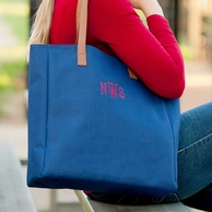Navy Monogrammed Tall Tote