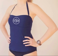 Navy Monogrammed TANKINI TOP - SIZE MEDIUM - PREORDER