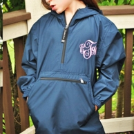Navy Monogrammed Youth Pullover Rain Jacket