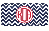 Navy Red Chevron Monogrammed Car Tag
