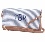 Navy Seersucker Monogrammed Cross Body Purse