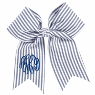 Navy Seersucker Monogrammed Hair Bow
