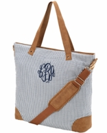 Navy Seersucker Monogrammed Shoulder Tote