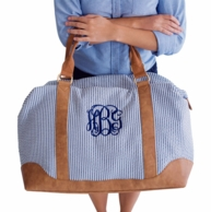 Navy Seersucker Monogrammed Weekender Bag