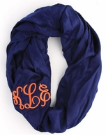 Navy Solid Monogram Infinity Loop Scarf