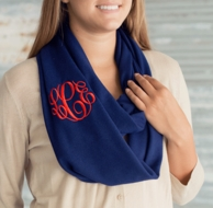 Navy Solid Monogrammed Infinity Scarf
