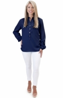 Navy Solid Tunic Blouse
