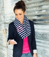 Navy Stripe Monogrammed Inifinity Scarf