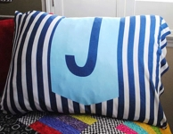 Navy Stripe Personalized Initial Pillowcase