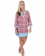 On The Veranda Red & Turquoise Band Dress